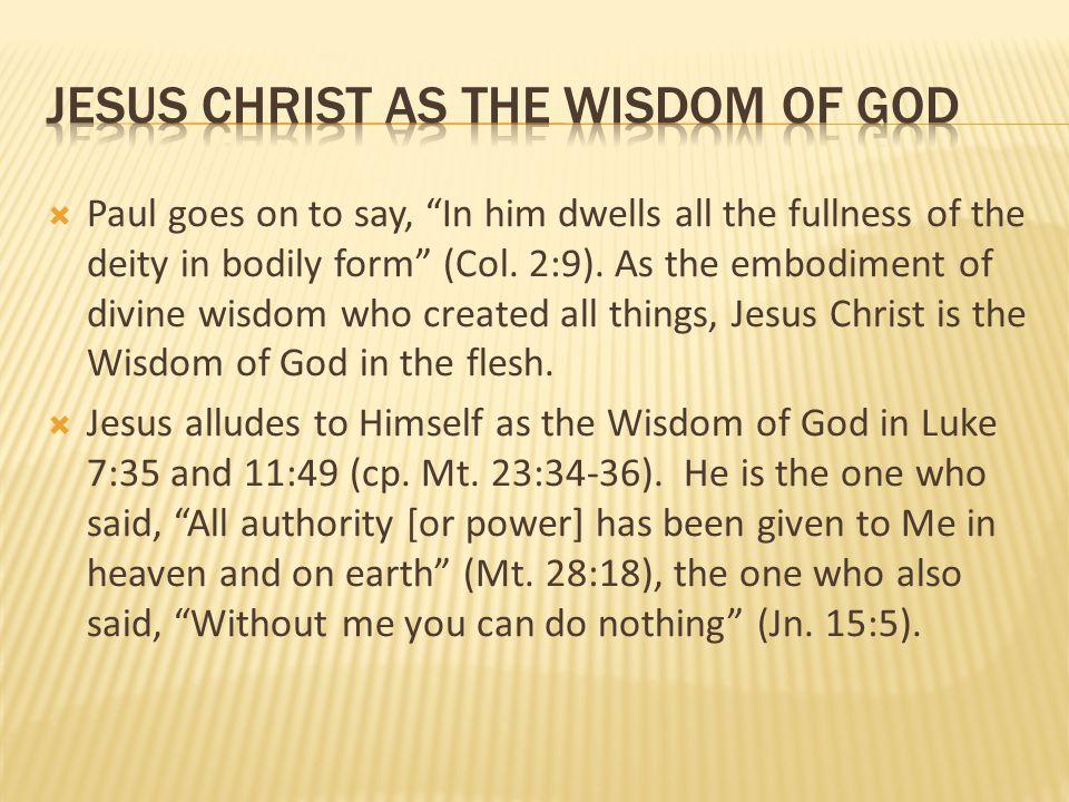jesus Christ as the wisdom of god