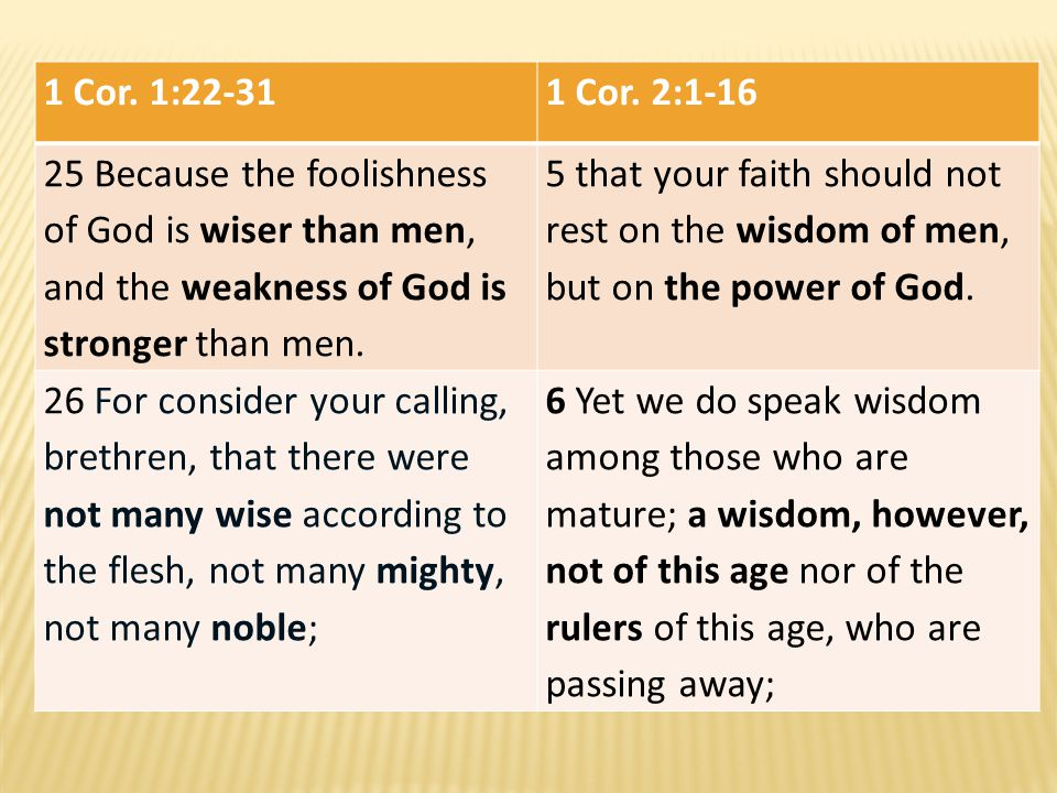 1 Cor. 1:22-31 1 Cor. 2:1-16. 25 Because the foolishness of God is wiser than men, and the weakness of God is stronger than men.