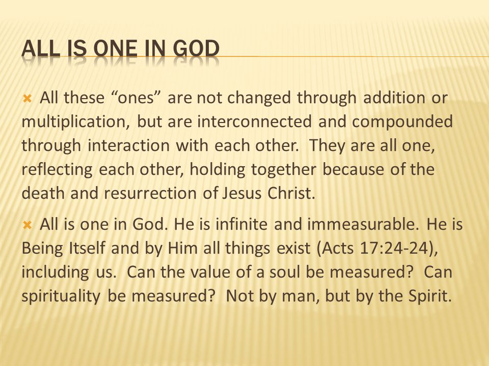 all is one in god