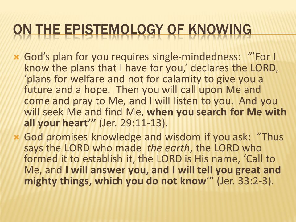on the epistemology of knowing