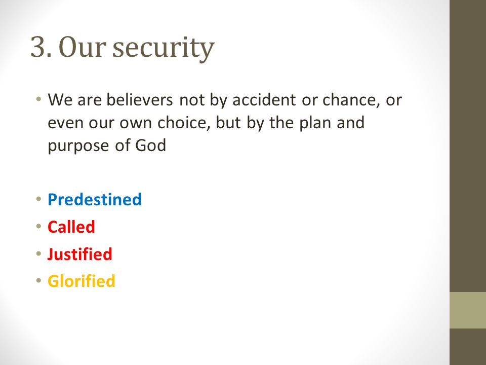 3. Our security We are believers not by accident or chance, or even our own choice, but by the plan and purpose of God.