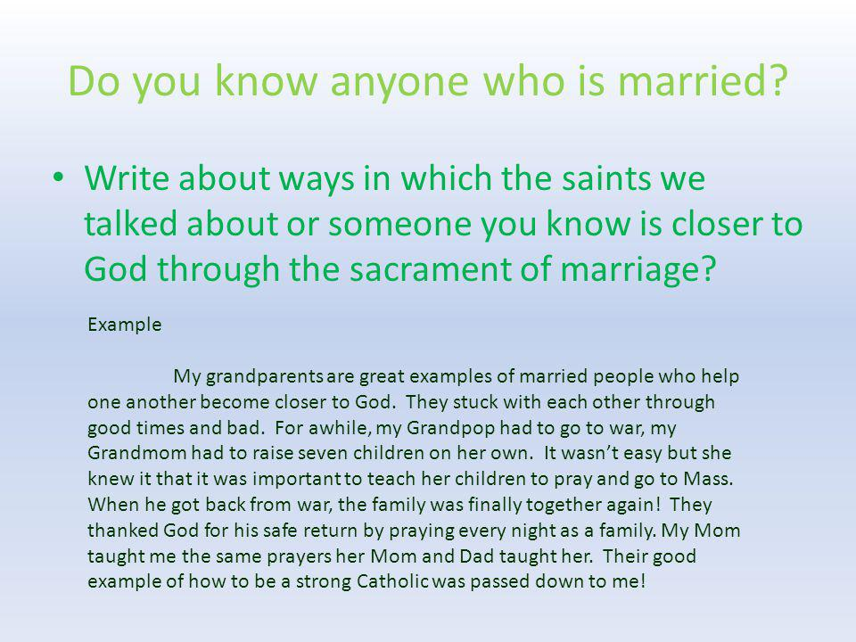 Do you know anyone who is married
