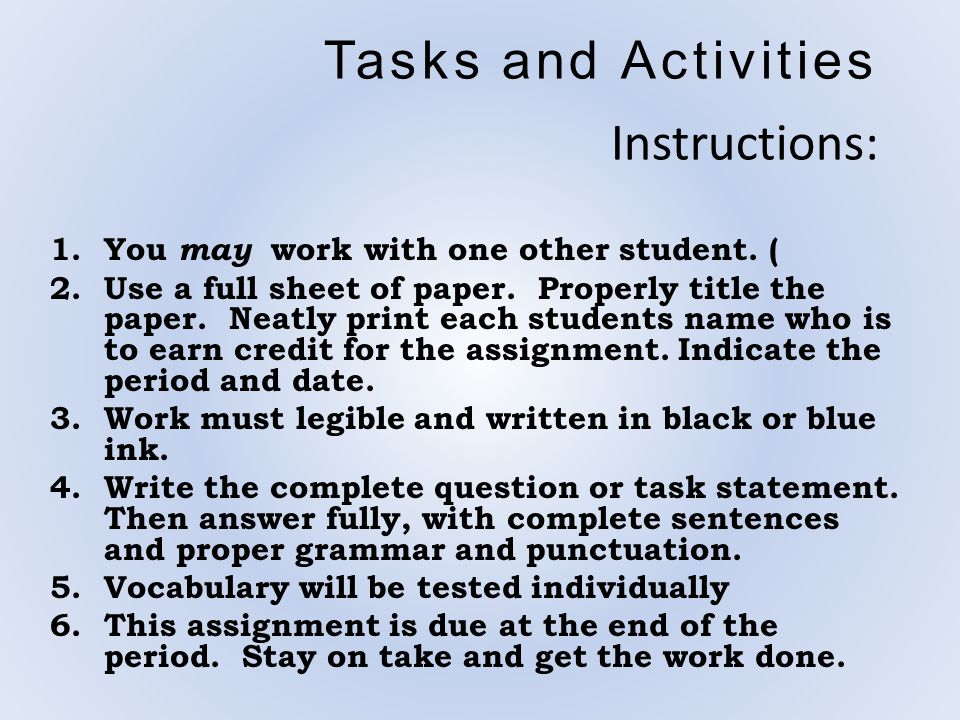 Tasks and Activities Instructions: