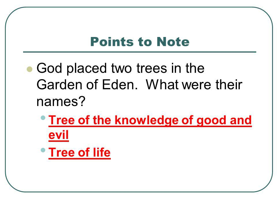 God placed two trees in the Garden of Eden. What were their names
