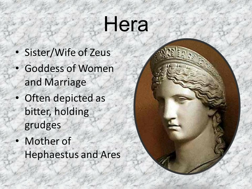 Hera Sister/Wife of Zeus Goddess of Women and Marriage