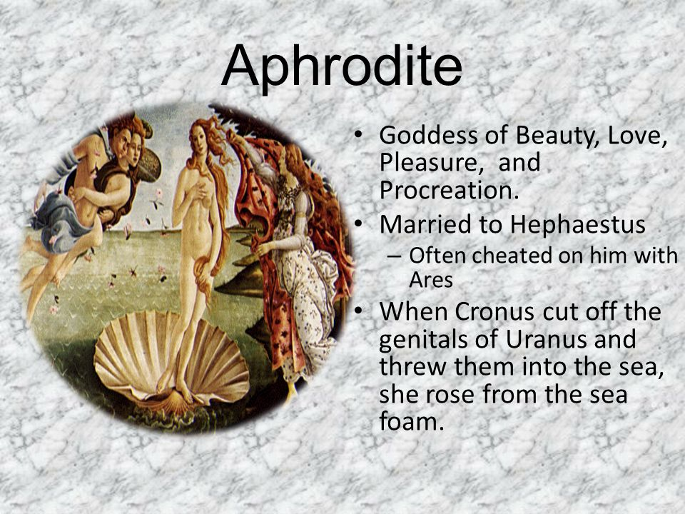 Aphrodite Goddess of Beauty, Love, Pleasure, and Procreation.