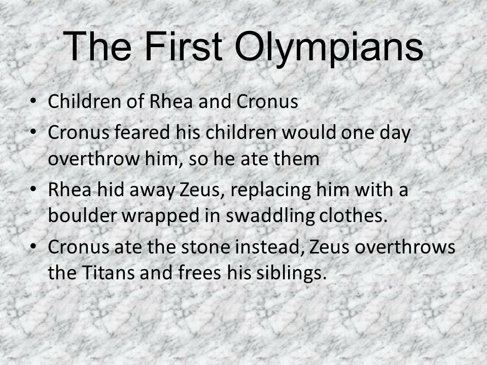 The First Olympians Children of Rhea and Cronus