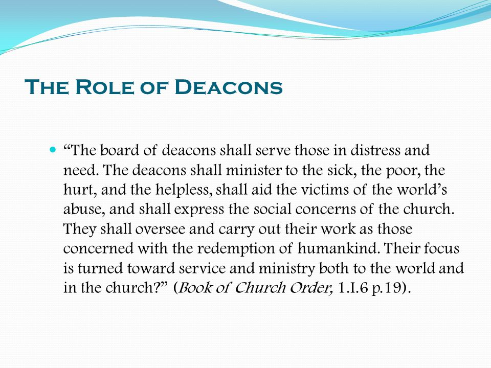 The Role of Deacons