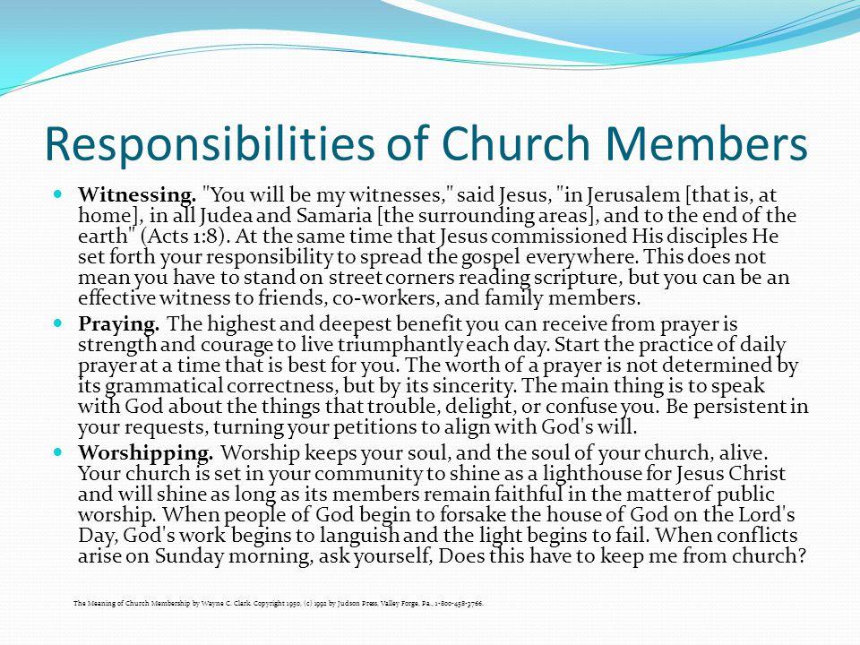 Responsibilities of Church Members