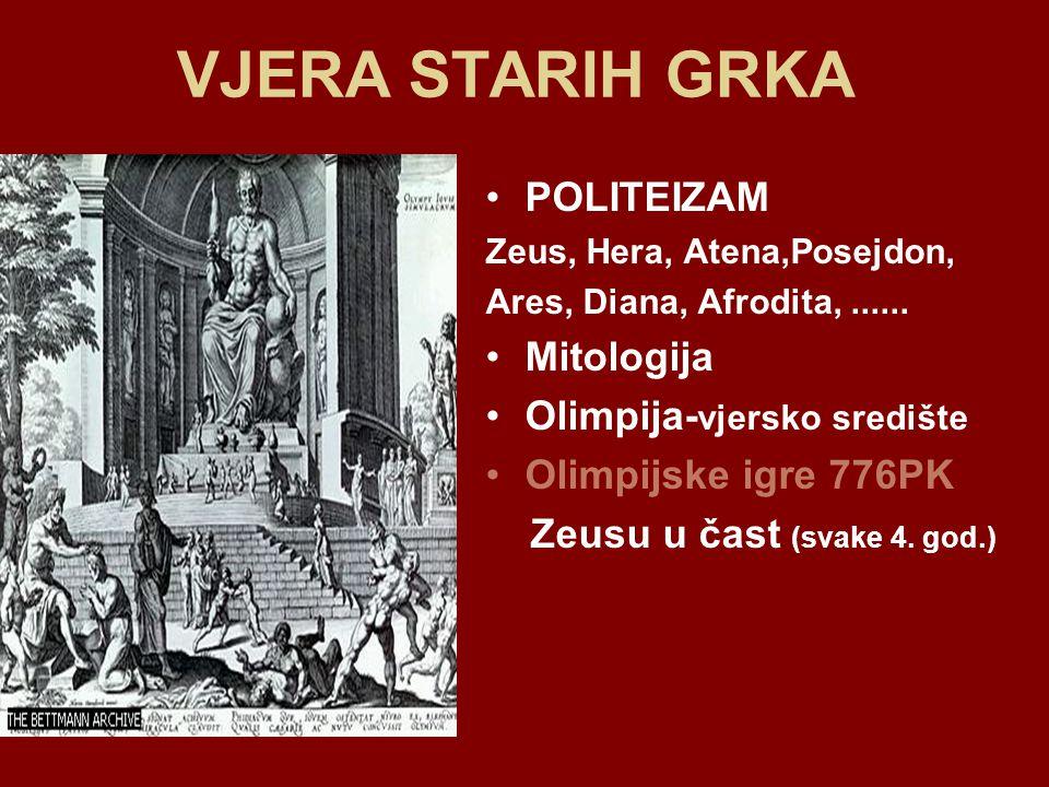 VJERA STARIH GRKA POLITEIZAM Mitologija Olimpija-vjersko središte