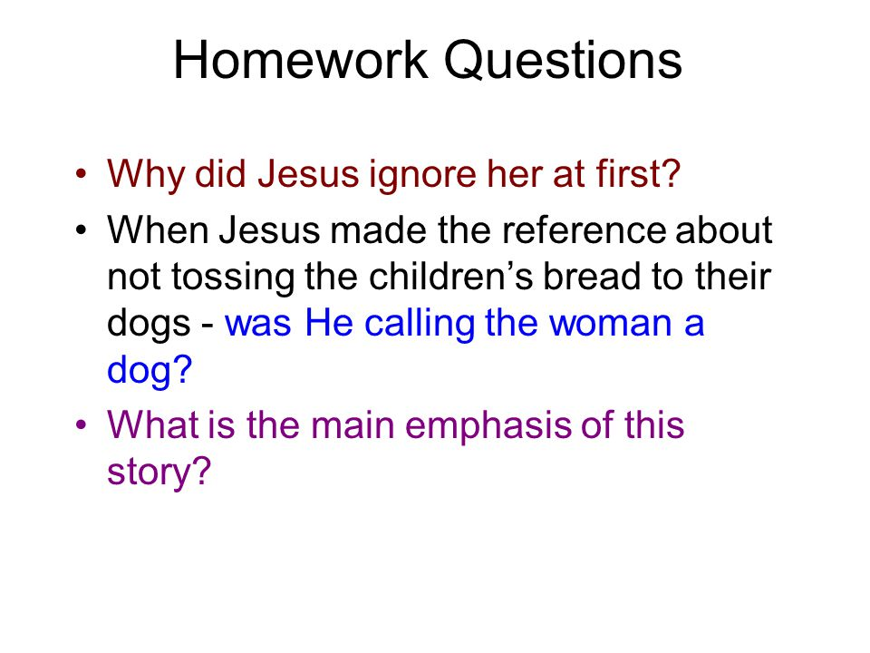 Homework Questions Why did Jesus ignore her at first