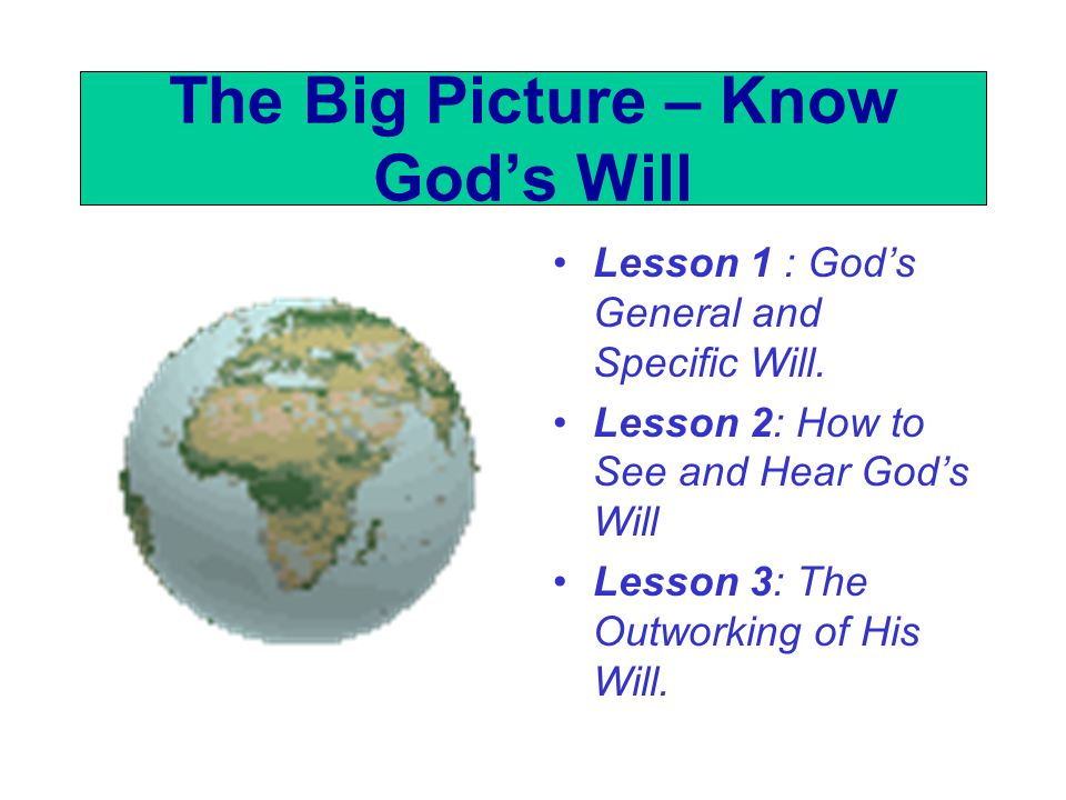 The Big Picture – Know God's Will