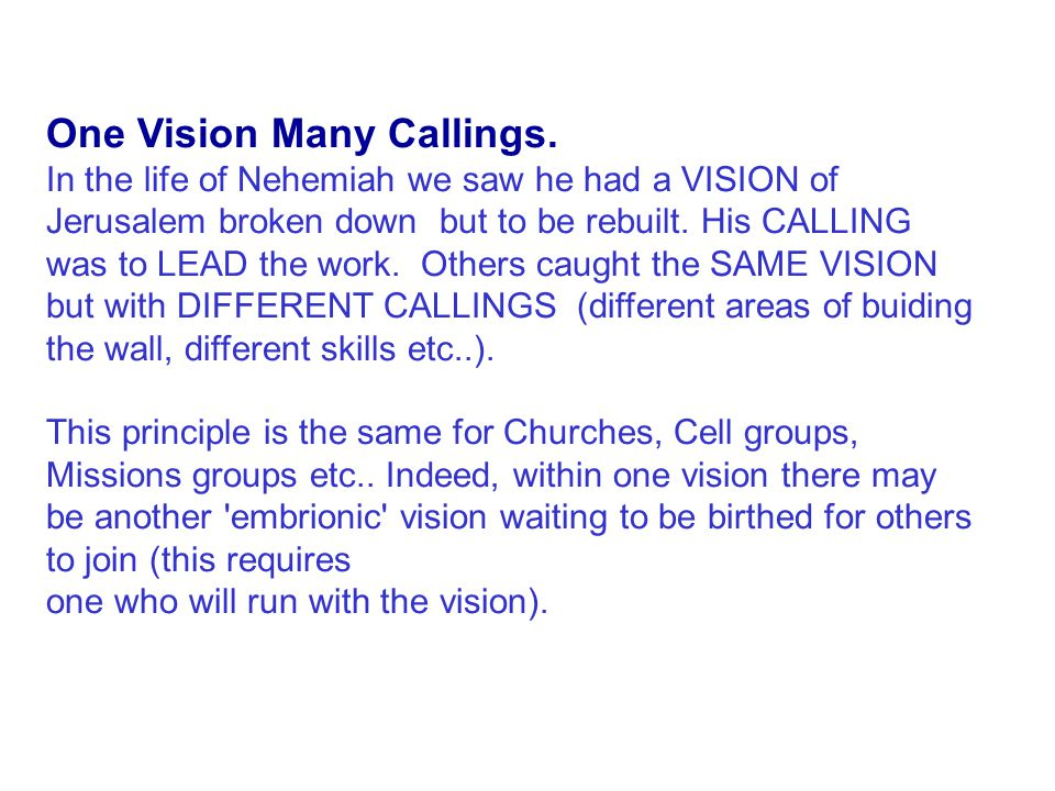One Vision many callings