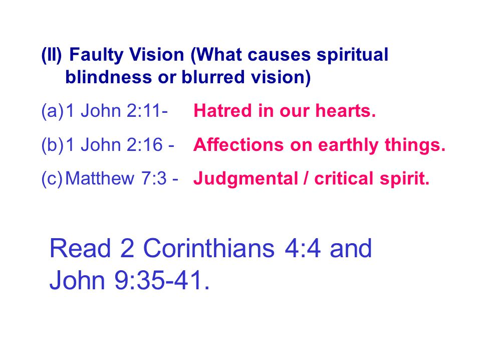 Faulty Vision Read 2 Corinthians 4:4 and John 9:35-41.