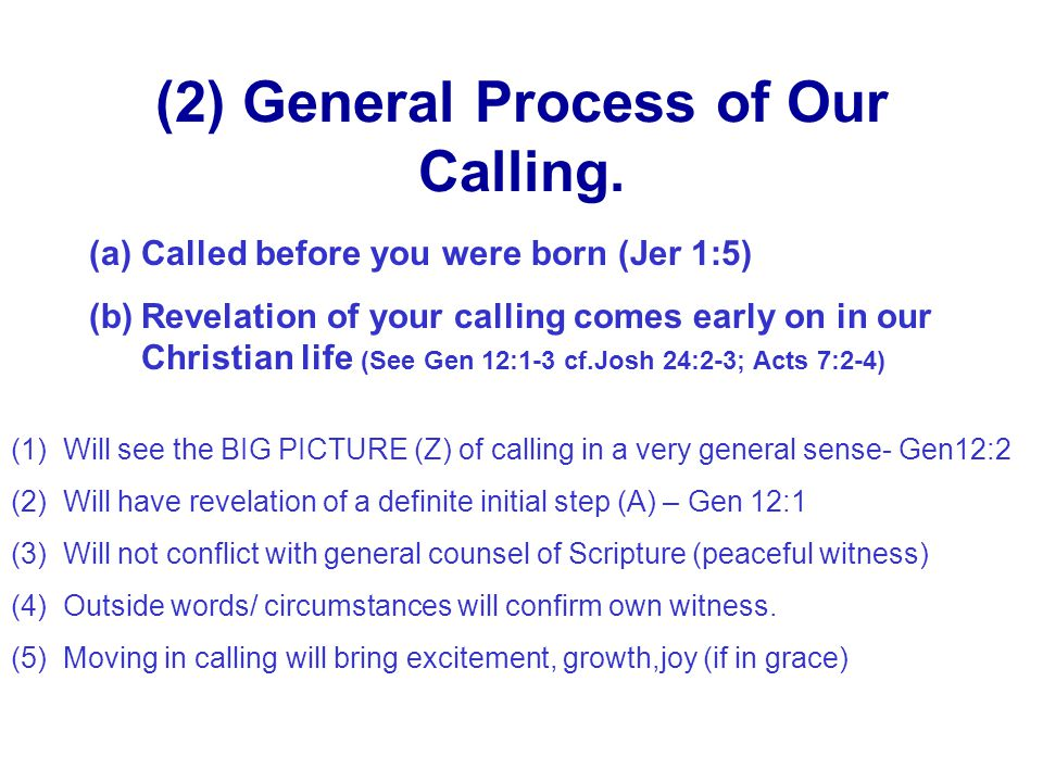 (2) General Process of Our Calling.