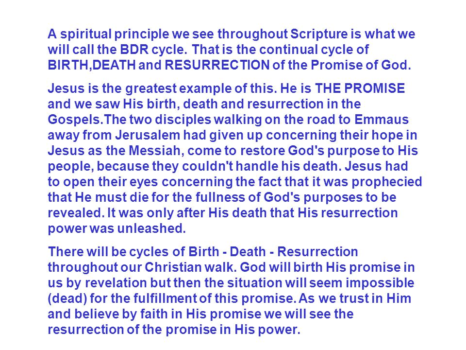 A spiritual principle we see throughout Scripture is what we will call the BDR cycle. That is the continual cycle of BIRTH,DEATH and RESURRECTION of the Promise of God.