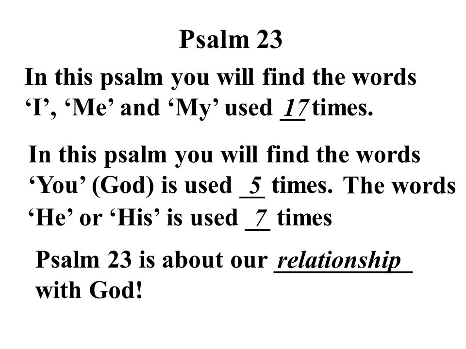 Psalm 23 In this psalm you will find the words 'I', 'Me' and 'My' used __ times. 17.