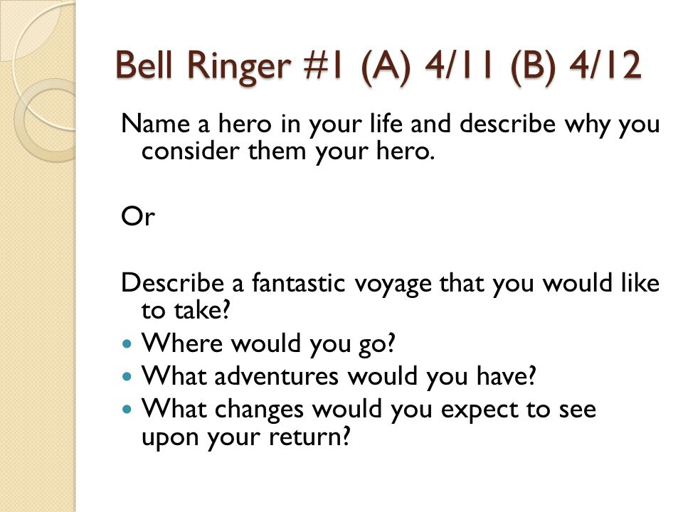 Bell Ringer #1 (A) 4/11 (B) 4/12 Name a hero in your life and describe why you consider them your hero.