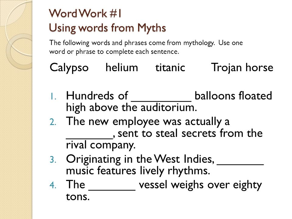 Word Work #1 Using words from Myths