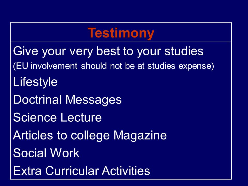 Testimony Give your very best to your studies Lifestyle