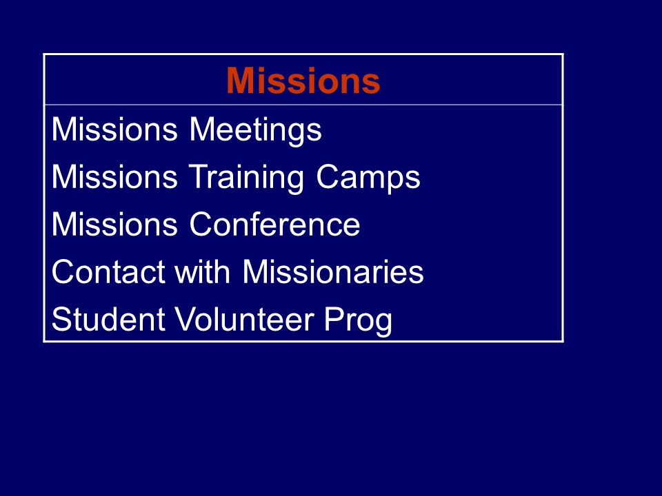 Missions Missions Meetings Missions Training Camps Missions Conference