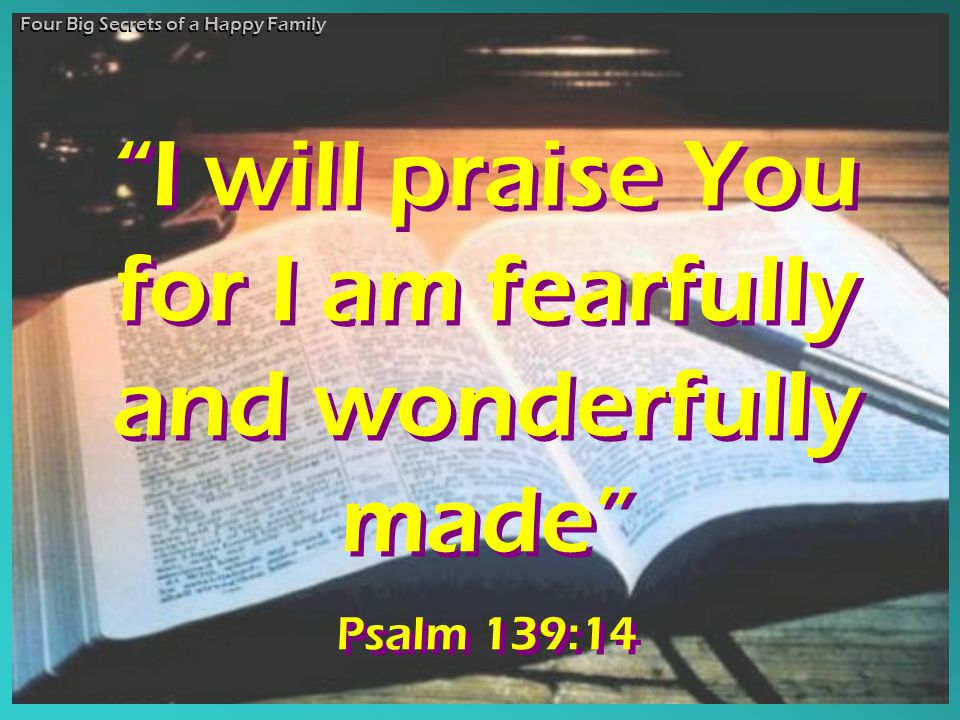 I will praise You for I am fearfully and wonderfully made