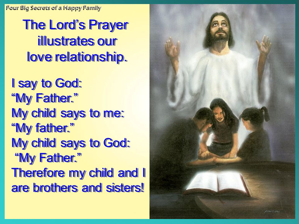 The Lord's Prayer illustrates our love relationship. I say to God: