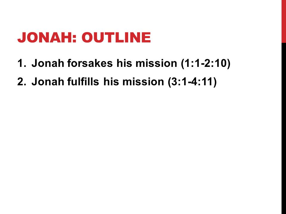 Jonah: outline Jonah forsakes his mission (1:1-2:10)