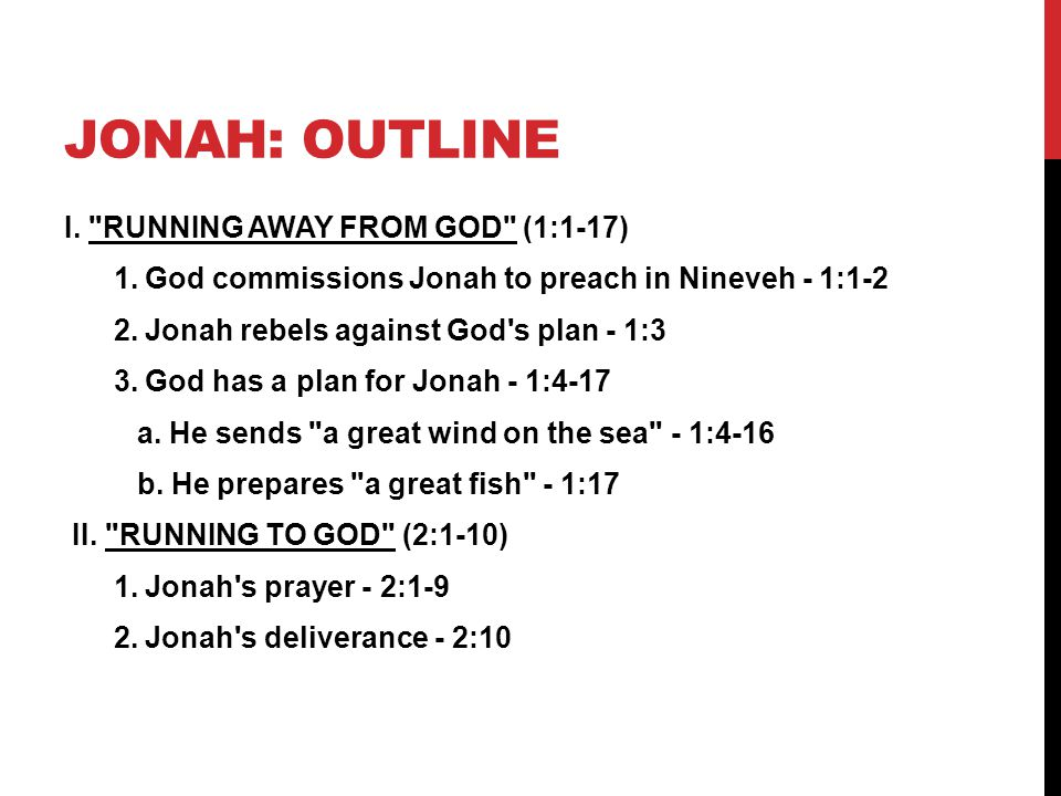 Jonah: outline I. RUNNING AWAY FROM GOD (1:1-17)