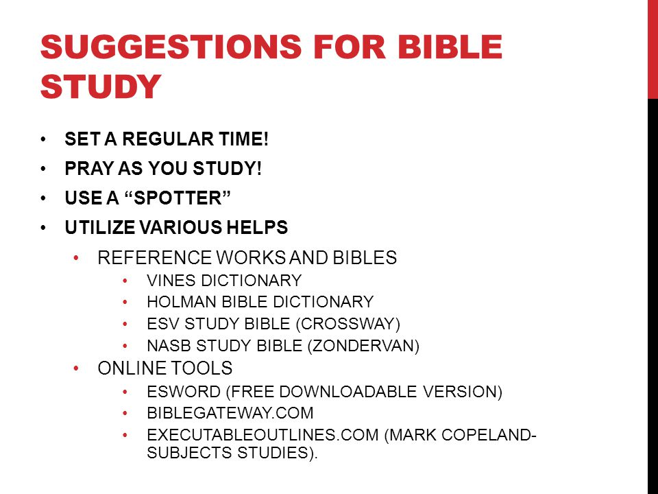 Suggestions for Bible study