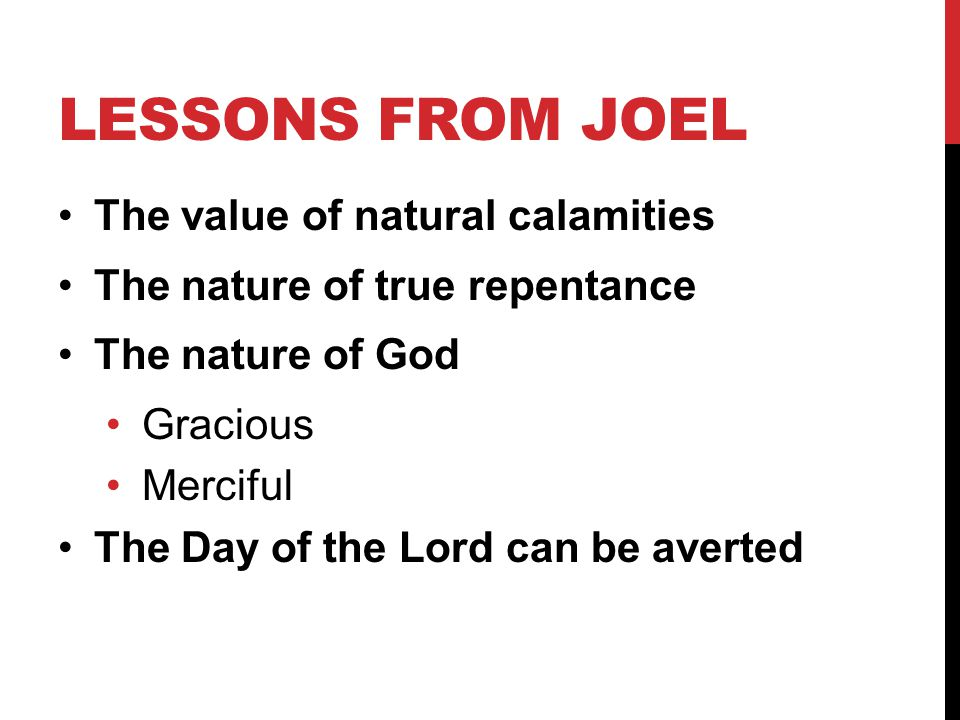 Lessons from joel The value of natural calamities