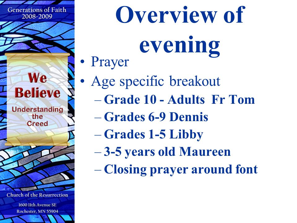 Overview of evening Prayer Age specific breakout
