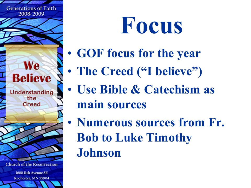 Focus GOF focus for the year The Creed ( I believe )