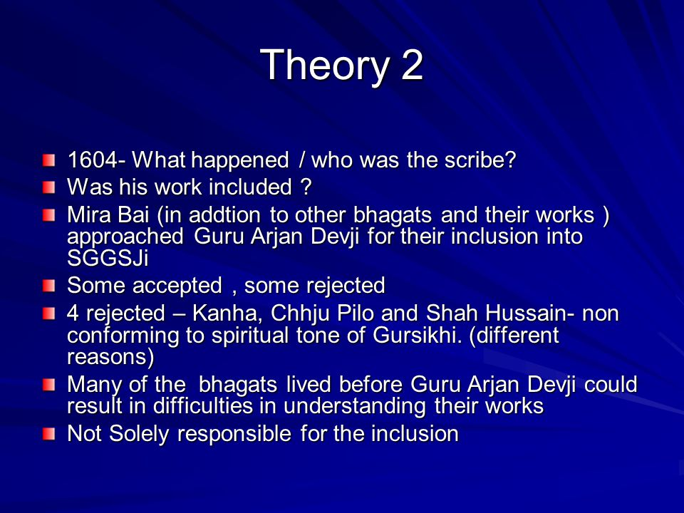 Theory 2 1604- What happened / who was the scribe
