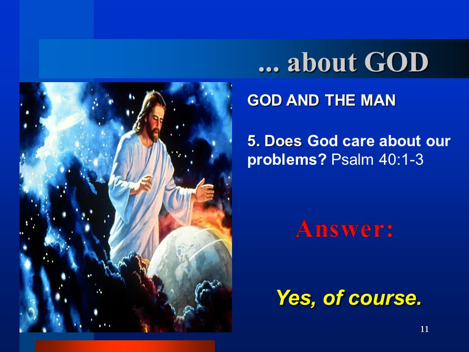 ... about GOD Answer: GOD AND THE MAN