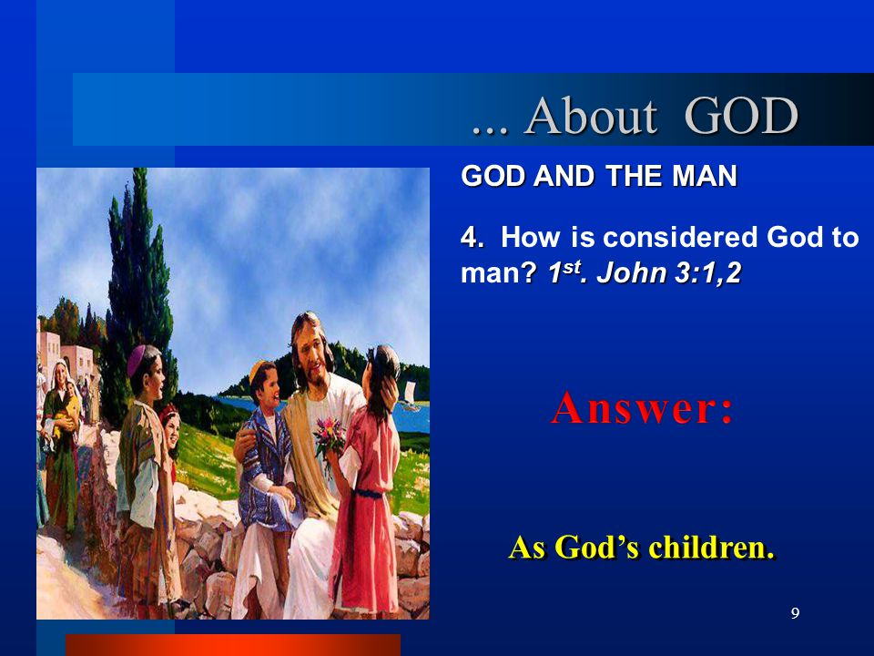 ... About GOD Answer: As God's children. GOD AND THE MAN