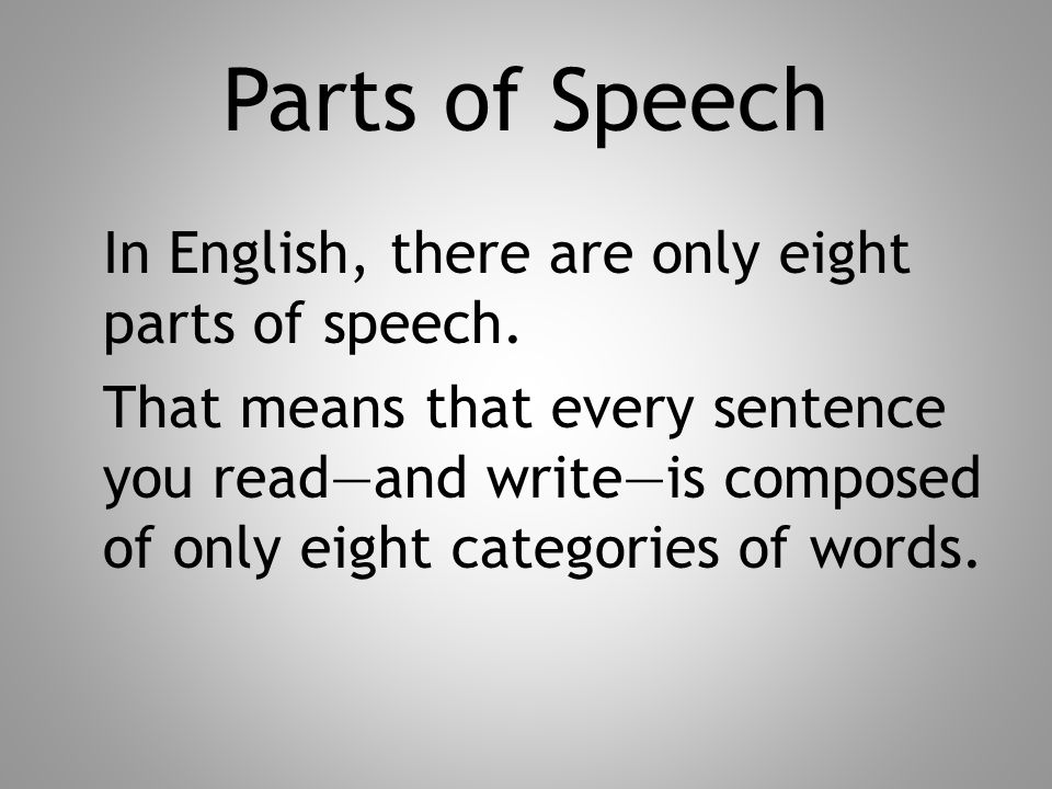 Parts of Speech In English, there are only eight parts of speech.