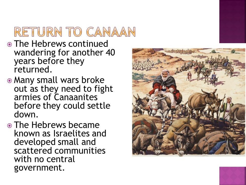 Return to Canaan The Hebrews continued wandering for another 40 years before they returned.