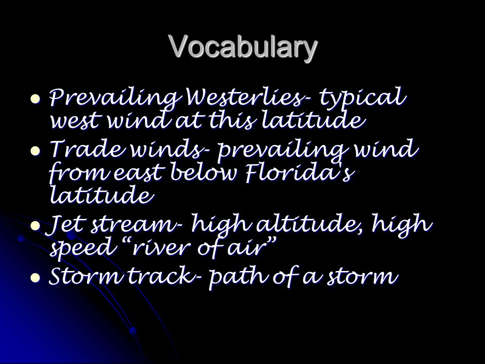 Vocabulary Prevailing Westerlies- typical west wind at this latitude