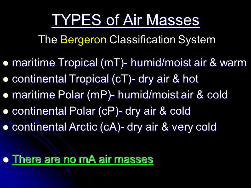 TYPES of Air Masses The Bergeron Classification System