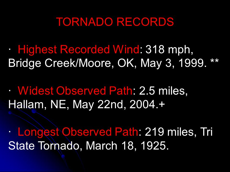 TORNADO RECORDS · Highest Recorded Wind: 318 mph, Bridge Creek/Moore, OK, May 3, 1999. **