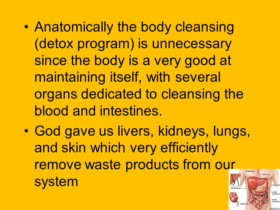 Anatomically the body cleansing (detox program) is unnecessary since the body is a very good at maintaining itself, with several organs dedicated to cleansing the blood and intestines.