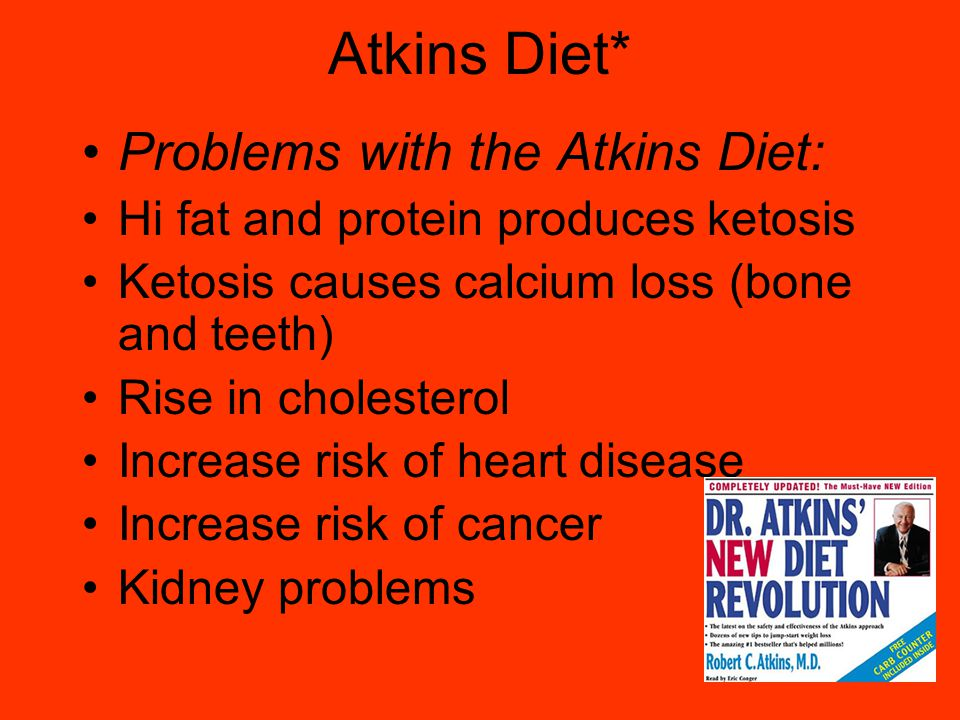 Atkins Diet* Problems with the Atkins Diet: