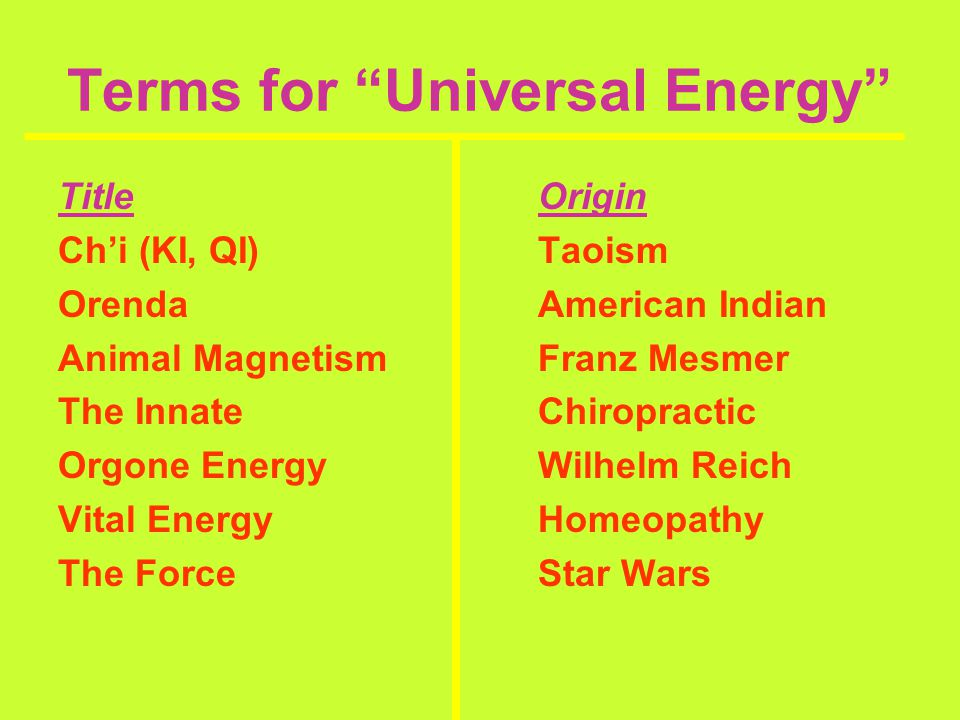 Terms for Universal Energy