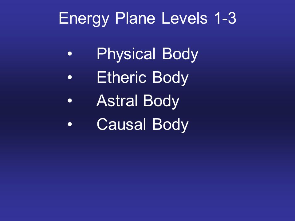 Energy Plane Levels 1-3 Physical Body Etheric Body Astral Body Causal Body
