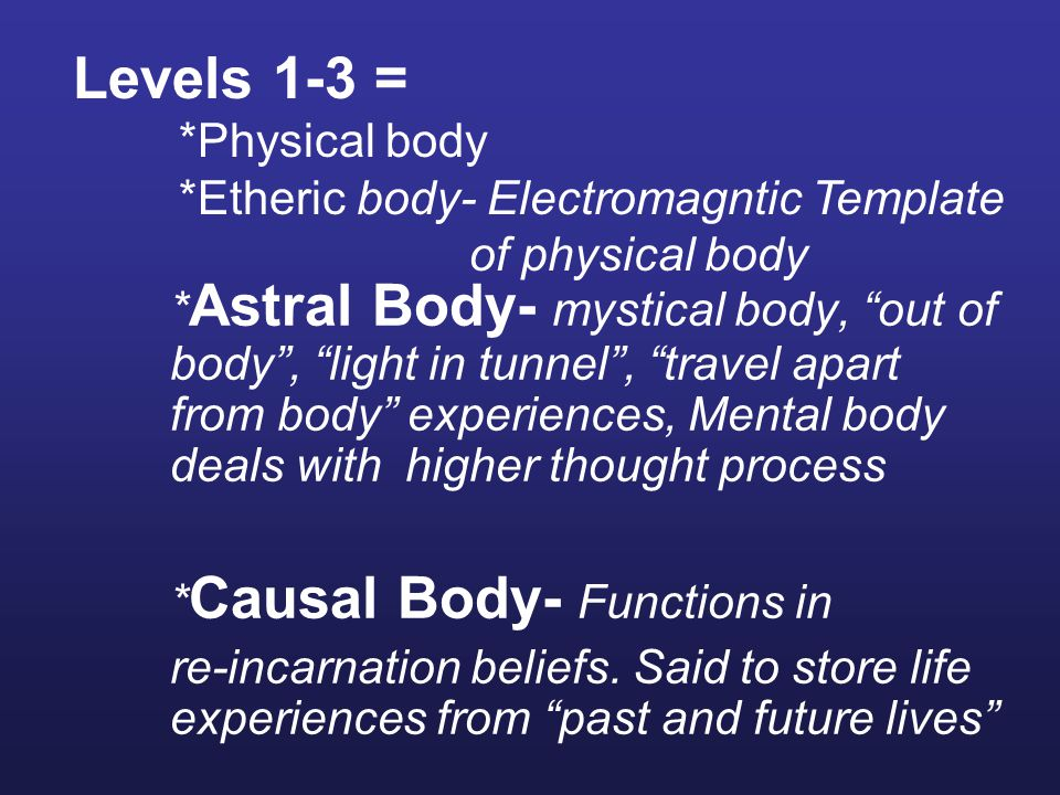 Levels 1-3 = *Physical body