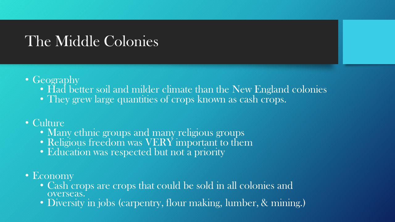 The Middle Colonies Geography
