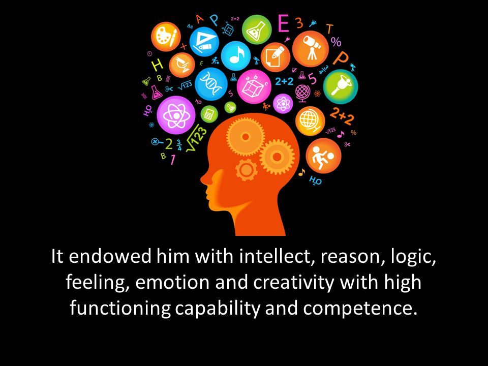It endowed him with intellect, reason, logic, feeling, emotion and creativity with high functioning capability and competence.