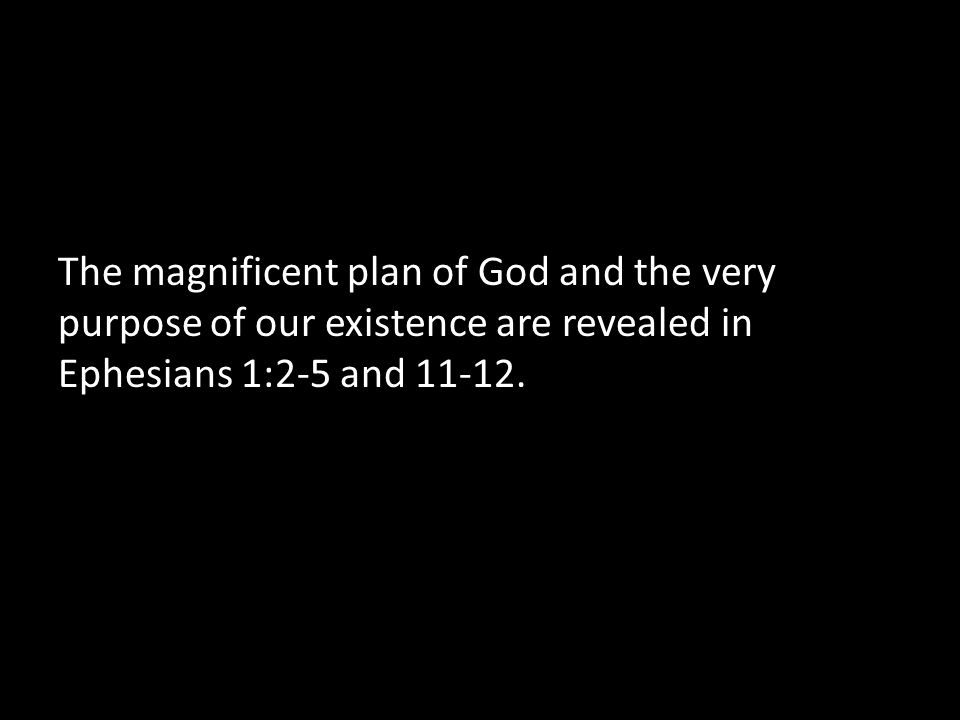 The magnificent plan of God and the very purpose of our existence are revealed in Ephesians 1:2-5 and 11-12.