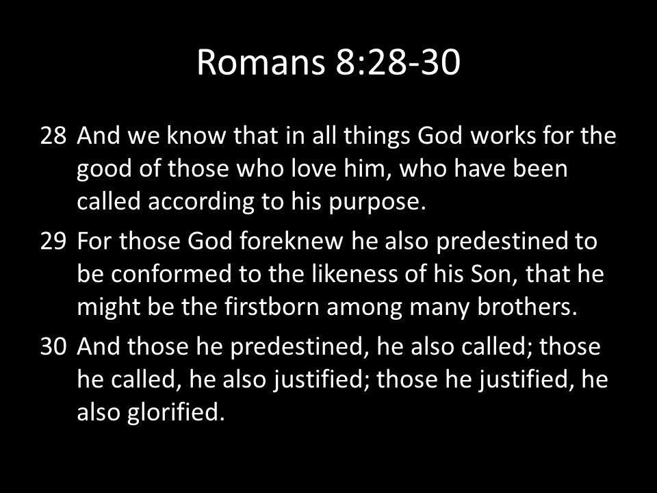 Romans 8:28-30 And we know that in all things God works for the good of those who love him, who have been called according to his purpose.